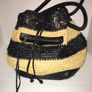 Rebecca Minkoff straw/leather hobo bag